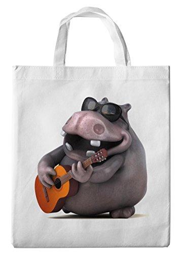 Merchandise for Fans Einkaufstasche- 38x42cm, 8 Liter - Motiv: 3D Comic Nilpferd mit Sonnenbrille spielt Gitarre - 02