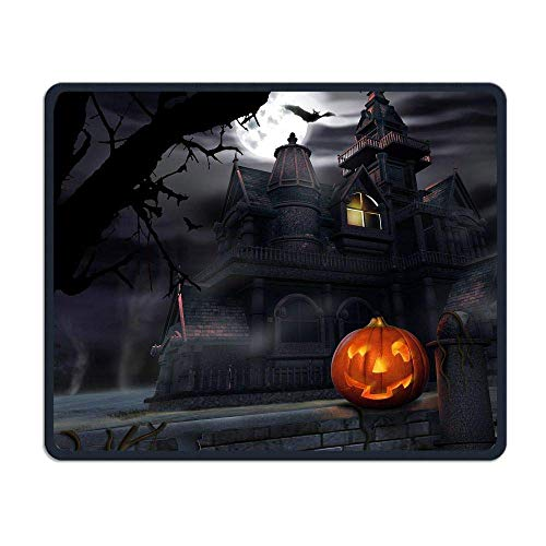 Mouse Pad Halloween Pumpkin Castle Rectangle Rubber Mousepad Gaming Mouse Pad with Black Lock Edge (Halloween Beach Grays)