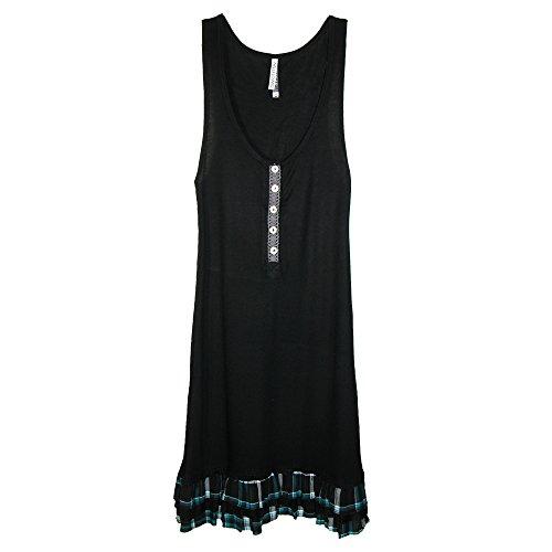 Pajama Drama - Chemise de nuit - Uni - Femme taille unique Noir