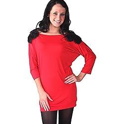 Lora Dora pour femme Paillettes Fleur épaule détail Robe pull Tunique de soirée pour femme Taille 36–42 - Rouge -