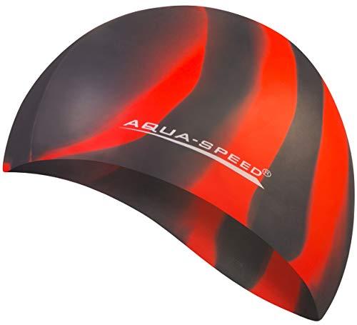 Aqua Speed® Set - BUNT Badekappe + Kleines Mikrofaser Handtuch | Silikon | Bademütze | Badehaube | Schwimmhaube | Erwachsene | Damen | Herren | Kinder, Kappen Designs:44. Bunt / 38