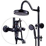 YYF-SHOWER Duschsystem Nordic Vintage Duschset Aus Kupfer, Badezimmer Kalter/Heißer 3-Gang-Wasserhahn Kostenlose Hubstange Punch-Installation (Farbe : SCHWARZ)