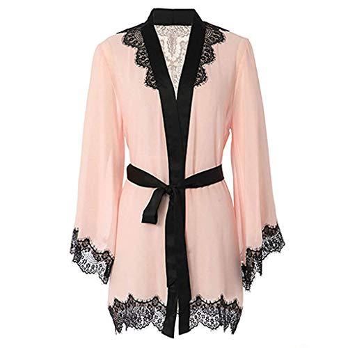 GROOMY Womens Plus Size Sexy Durchsichtig Mesh Dessous Bademantel Kontrastfarbe Wimpern Blumenspitze Patchwork Nachthemd Satin Gürtel Nachtwäsche mit Slip - Pink-2XL -