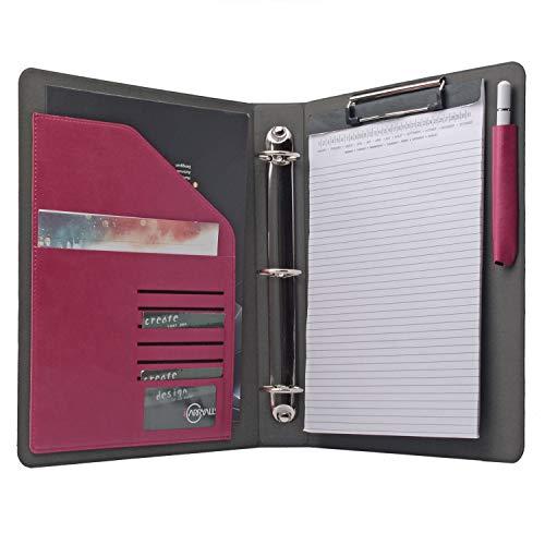 3RING BINDER Portfolio Organizer, Business Padfolio mit 3,8cm 3Ring Binder für Briefkorb A4Notizblock Dokumente 10.2x10.2x12.8 In. rosarot (Business Organizer Binder)