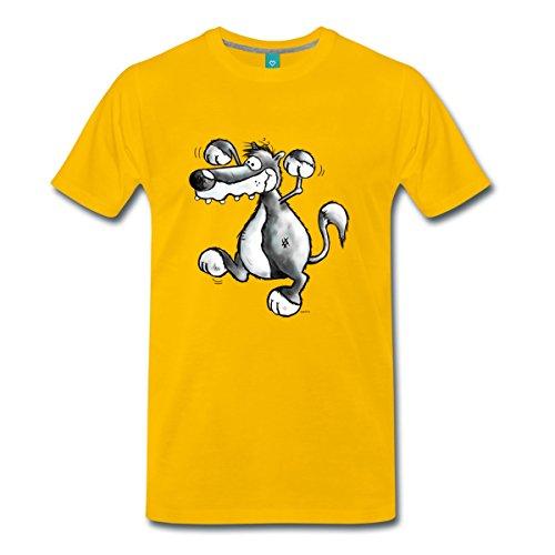 Wilder Wolf Männer Premium T-Shirt von Spreadshirt®, 5XL, Sonnengelb