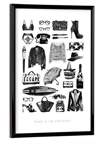 artboxONE Poster mit schwarzem Kunststoffrahmen 30x20 cm Black is The New Black von Mercedes Lopez Charro