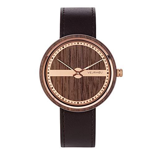 VEJRHØJ - Holzuhr für Herren | Nautic 55º North | Holz Armbanduhr aus Walnussholz & Edelstahl | Swiss Made Ronda Movement | Saphirglas |