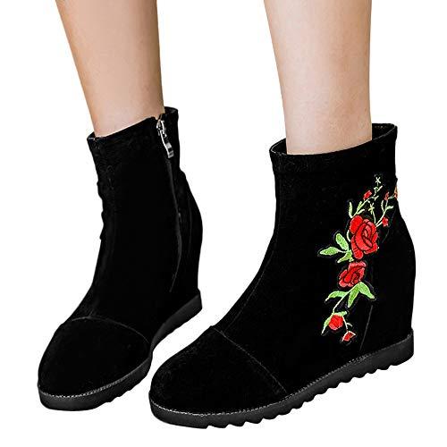 Preisvergleich Produktbild TianWlio Stiefel Frauen Herbst Winter Schuhe Stiefeletten Boots Runde Zehen Schuhe Bestickte Stiefel National Wind Schuhe Kurzer Stiefel Schwarz 38