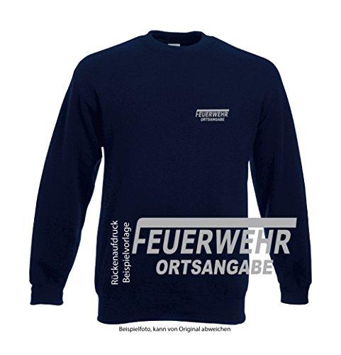 Feuerwehr Sweat-Shirt navy mit Aufdruck in neongelb oder reflexsilber (L, reflexsilber) (Feuerwehr Kleidung)