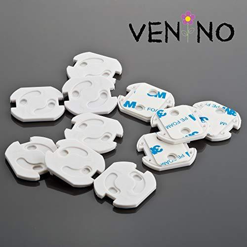 VENINO Kindersicherung für Steckdose mit Drehmechanik zum kleben, zweipolig, Steckdosensicherung für Kinder/Baby, weiß
