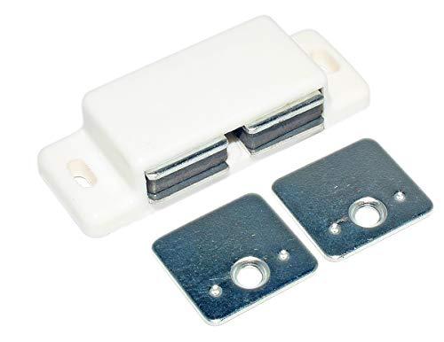 HKB ® Magnetschnäpper weiß mit starren Gegenplatten, 2 x 2-3 kg Zugkraft, mit Schrauben, 1 Stück, Hersteller Hettich, Artikel-Nr. 9030534 + 1312 (Weiß 2 Schrauben)
