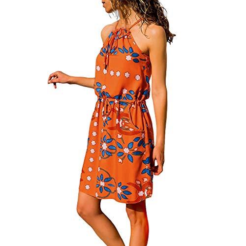 Frauen-Sommer ärmelloses gedrucktes elastisches Taillen-Taschen-beiläufiges Strand-Minikleid Dehnbaren Informell Mini Knielang Petticoat Beiläufige Kleid