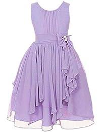 Vestido de Encaje para niñas Vestidos de Princesa Sin Mangas Vestido con Nudo en Forma de Arco Vestido de Dama de Honor de Boda…