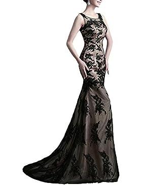 Las mujeres de la novia de las mujeres elegantes de encaje sin mangas Negro Cena antes de corto después del vestido...