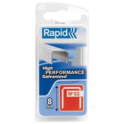 Rapid, 40109503, Agrafes en fil fin N°53, Longueur 8mm, 1080 pièces, Pour le textile et la décoration, Fil galvanisé, Haute performance