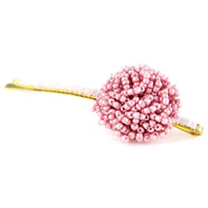 Cotton Candy Pink - Beaded Button Top - Golden Colored Bobby Pin - Elegant Hair Pin