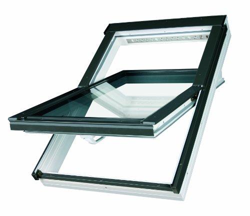 Dachfenster Fakro Schwingfenster 78x118cm Kunststoff mit Dauerlüftung V35 Standardverglasung U3 mit Eindeckrahmen für Schindeln oder Schiefer
