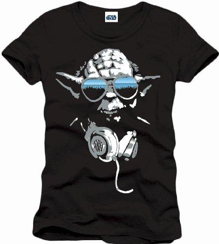 Star Wars Herren T-Shirt Dj Yoda Cool Schwarz