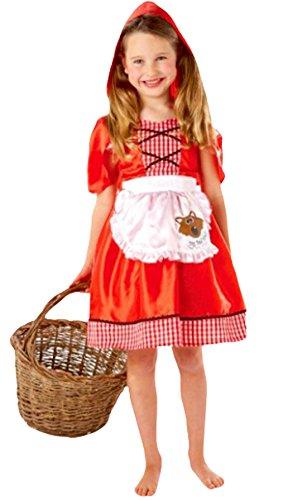 erdbeerloft- Exclusives Kinder Rotkäppchen Märchen Kostüm, Kleid mit Kapuze, rot, 6-8 (Rapunzel Kleid Kleinkind)