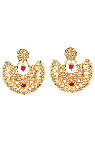 Dilan Jewels PURE Collection Red Color Gold Plated Kundan Chandbali Earrings For Women
