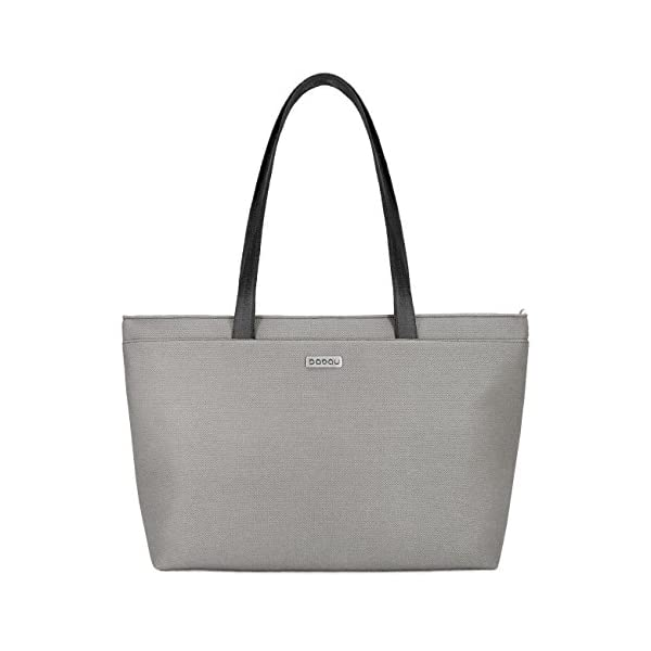 Large light grey tote bag with light inside. With 6 inside pockets and strap made of recycled seatbelt. - handmade-bags