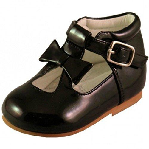 Schuhe für Mädchen, Kleinkinder, glänzend, Lackschuhe, mit Schleife, in spanischem , für Party, Hochzeit, rutschfeste Lauflernschuhe, Schwarz - Schwarz - Größe: 36 EU Kinde