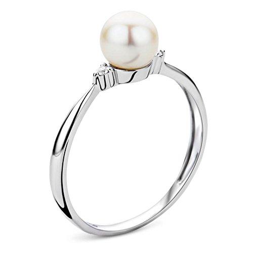 Miore Damen Ring 9 Karat (375) Weißgold Süßwasser-Zuchtperle mit 2 Brillanten - 2