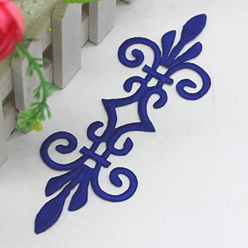 Lace Crafts - 10 Teile/los Eisen auf Gestickte Applizierte Blume Kostüm Patches Gold und Silber s 17,56 cm DIY - (Farbe: Königsblau) -