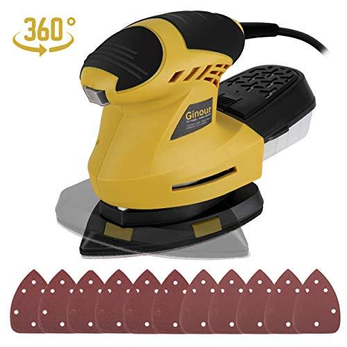 Ginour Levigatrice Mouse, 200W 12000RPM Levigatrice Elettrica con Pad Rotante a 360...