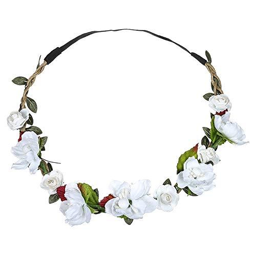 Dorical Stirnband Blumen, 1 Stück Stirnbänder Krone Haarband Kopfband Blume Haarbänder mit Elastischem Band für Hochzeit und Party Haarbänder Band für Frauen Mädchen Mehrfarbig Blume(Weiß)
