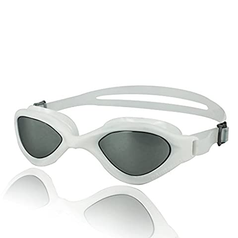 Barracuda Swim Goggle BLISS MRROR – One-piece Frame, Anti-fog UV Protection Anti-glare, Easy adjusting Quick Fit Lightweight Comfortable No leaking, Triathlon Open Water for Adults Men Women #73310 (White)
