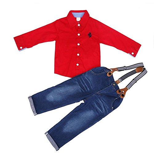 2Kind Boy Kleidung SET Lange Ärmel Rot Shirt + Spaghetti Gurt Jeans (4T) -