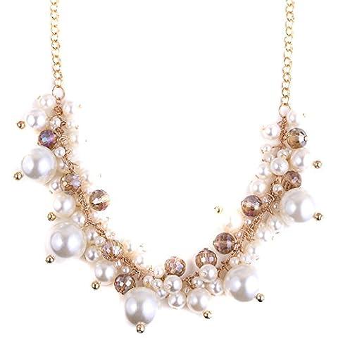 QIYUN.Z Damen Weißen Perle Cluster Bib Kragen Chokerhalskette Halskette Anhänger Halsketten
