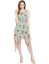 Ishin Georgette Green Printed Round Neck Knee Length Asymmetric Hemline Sleevless New Collection Women's Western Wear Dress