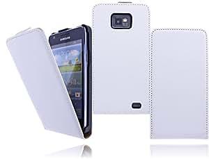 Premium Flip Case Tasche für das Samsung Galaxy S2 i9100 / S2 Plus i9105 Schutzhülle Wallet Flip Cover Etui mit optimalem Displayschutz und Magnetverschluss in weiß / white