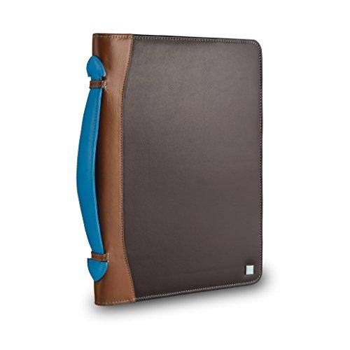 Serviette porte-documents en cuir multicolore, porte iPad signé DUDU Brun foncé