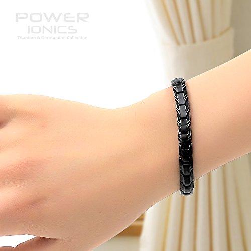 Power Ionics Bracelet Armband Powerarmband PowerIonics Ionenarmband Energie Wristband Magnet Armband 3000 Ions Smart Sports Bracelet Wristband Farbe silber und schwarz PT067 (black)