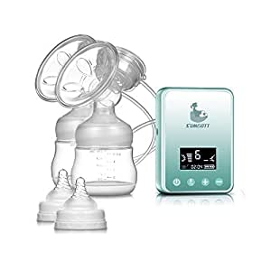 Tire Lait Maternel électrique - SUMGOTT Rechargeable Affichage LCD Numérique Double Pompe du sein Automatique Massage Postpartum Prolactine