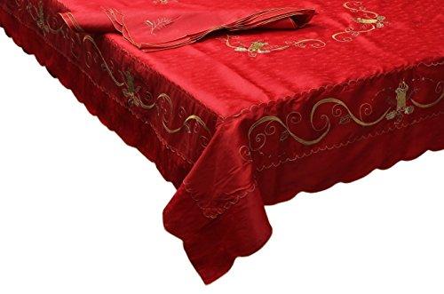 Elite tovaglia natalizia ricamata 6 posti 140x180cm 6 tovaglioli rosso mh05a2006