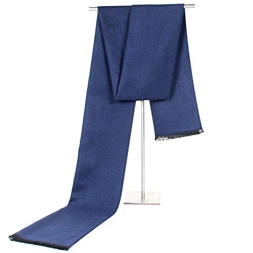 Junjiagao Schal-männliches Geschäft nachgemachtes Kaschmir-Fall-Winter Zwei Ton-Doppelgebrauchs-Schal-Freizeit-warmes Kühl (Color : Blue)