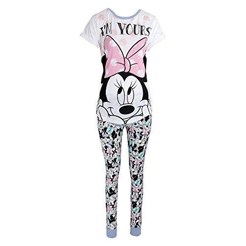 Kostüm Hemd Flanell - Disney Damen I'm Yours Minni Maus Baumwolle Pyjama (34-36 DE) (Weiß/Pink)