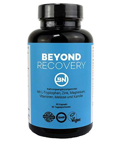 BEYOND RECOVERY - 90 natürliche Schlaf, Regeneration & Anti-Stress Kapseln - Schlafmittel mit pflanzlichen Wirkstoffen wie Ashwagandha, Kamille & L-Tryptophan - ohne Chemie - rezeptfrei & extra stark