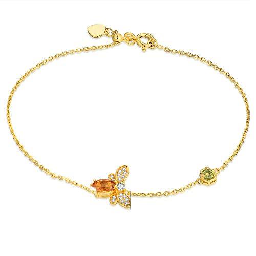 Katylen 925 Sterling Silber Farbige Edelstein-Schmuck Natürliche Citrin Peridot Biene Mikro-Intarsien Armband 14K Gelbgold,Gold,Einheitsgröße (Peridot Und Gold-armband)