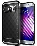 Caseology Galaxy S7 Edge Hülle, [Parallax Serie] Schlank Dopellagiger Schutzhülle mit Textur Sichere Griff Geometrisches Design [Schwarz - Black] für Samsung Galaxy S7 Edge (2016)