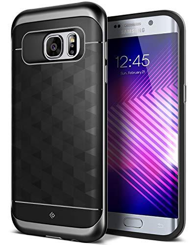 galaxy s 7 edge huelle Caseology Galaxy S7 Edge Hülle, [Parallax Serie] Schlank Dopellagiger Schutzhülle mit Textur Sichere Griff Geometrisches Design [Schwarz - Black] für Samsung Galaxy S7 Edge (2016)