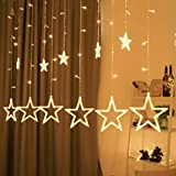 CC Arts 8 Modes 12 Stars 138 LED Star Shaped Plug in Curtain String Lights for Bedroom; Wedding; Party; Christmas; Decorations for The Home (Yellow)