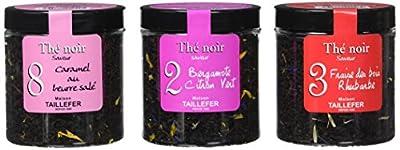 Maison Taillefer Trio Thé Noir Caramel Beurre Salé/Bergamote Citron Vert/Fraise Rhubarbe 180 g - Lot de 4