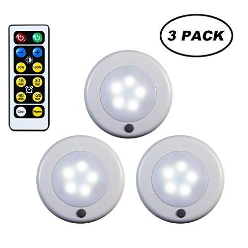 WRalwaysLX 3er-Pack Fernbedienung LED Wasserhahn-Lichter Kühle/Warm einstellbares Nachtlicht, Betrieb durch 3 x 1,5 V AA Batterien (nicht im Lieferumfang enthalten) für Küche unter Schrankbeleuchtung -