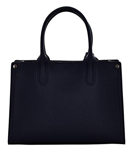 SIMONA Sac porté Épaule Femme Shopper Porté Main Vrai Cuir Fabriqué en Italie Artisanale Bleu foncé