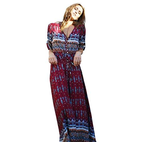 Damen Mode Böhmische Tunika Floral V-Ausschnitt Party Strand Lange Maxi Sommerkleid Sommerkleid (M/42, Wein) (Box Wein Kostüm)